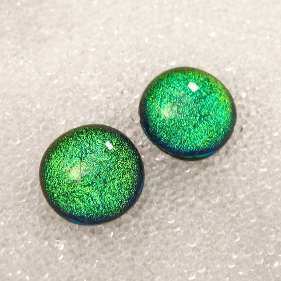 Sparkling Lime Neon Green Dichroic Glass Stud Earrings Round