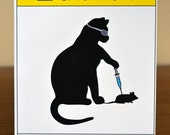 Cat Scientist - Injecting Mouse - Flat Note Card
