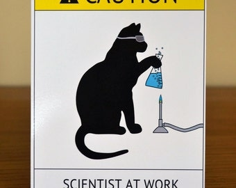 Cat Scientist - Boiling Flask - Flat Note Card