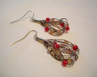 Red and gold beaded fiber earrings