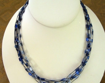 Blue Ribbon and Bead Necklace