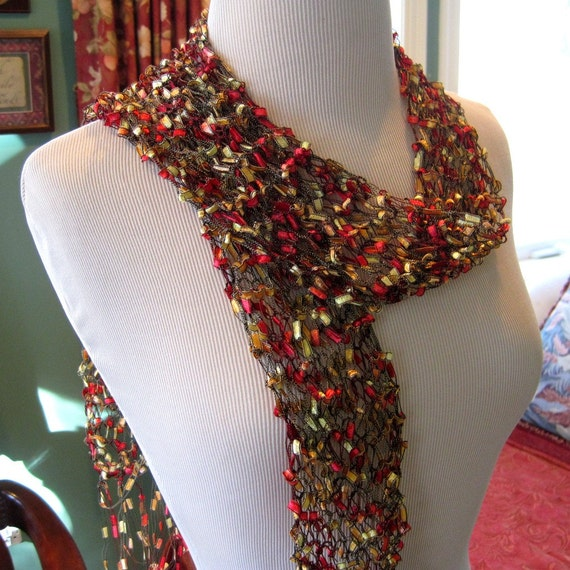 Red and Gold Knitted Ribbon Accessory Scarf.CHOOSE A COLOR:Blue, Orange, Pink and Purple, Jewel ton mix,Green mix,Purple and gold mix, Tan