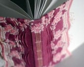 Blank Book with Plum and Pink Vintage Hankie and Hand Embroidery