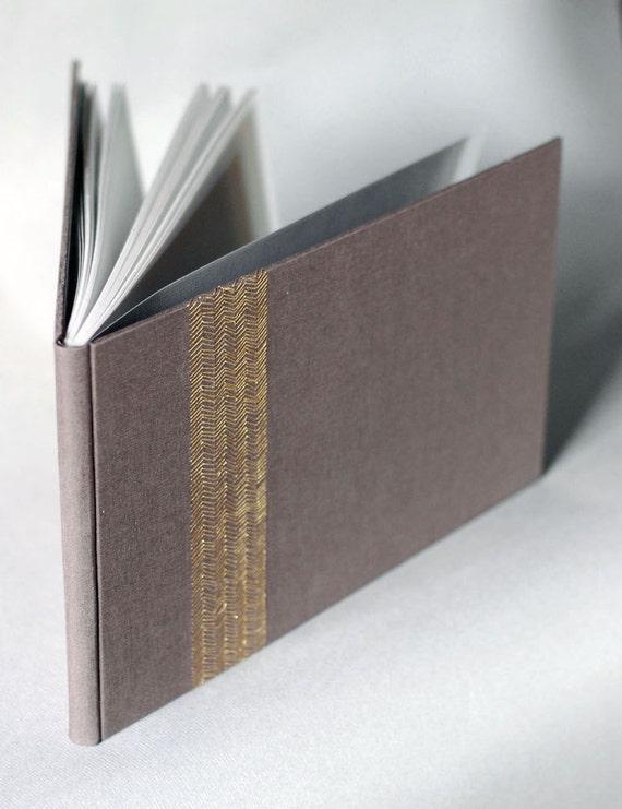 Sale - Guest Book in Espresso and Gold Chevron Embroidery