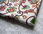 Vintage Fabric Cotton Retro Boho Broadcloth Red White Blue Floral