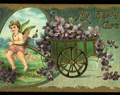 SALE TAKE 10% OFF Vintage Valentine Card Postcard Edwardian Embossed Cupid, Purple Violets, Flower Cart