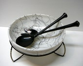 Salad Serving Bowl Holiday Party Vintage Retro Hazel Atlas Milk Glass Spaghetti String Drizzle Design