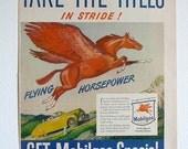 Cyber Monday Sale Take 50% Off Vintage Adertising Mobilgas Red Pegasus Flying Horse Gasoline Car Ephemera Man Cave Mad Men