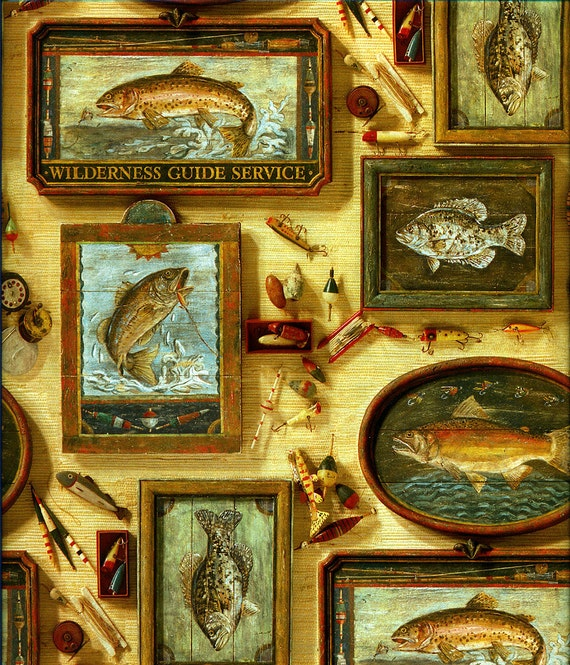 Man Cave Uncut : Vintage gift wrap wrapping paper sports fishing by