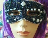 Shy Blue Mask - bead Embroidered