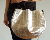 Silver Leather Hobo Bag