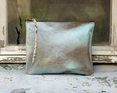 Oversized Leather Clutch Blue  Metallic 10 inch