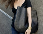 Black OstrichOversized Leather Hobo Bag, every day bag, Hobo Bag