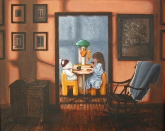 "Original 20X24 acrylic painting titled ""Snack Time"" Signed By Artist, little girl, breakfast, teddy bear, eating, little tykes kitchen, blue"