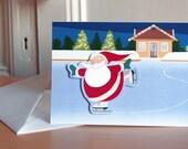 skating Santa Christmas card