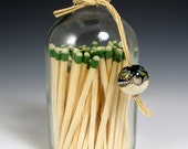 Carol Watson Art Glass Recycled Glass Vial Matchstick Holder with lampwork bead- strike on the bottom