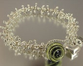 Carol Watson Art Glass Fine silver barbell bracelet with lampwork button closure