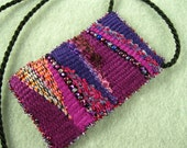 Handwoven Beaded Tapestry Pendant in Purple, Pink and Fuschia  Wearable Art
