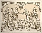 Dance Macabre Gothic Medieval Art Print Set