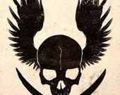 Steampunk Art Poster Print Beware Air Pirates Skull Jolly Roger Wall Decor