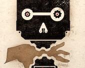 Beware Alive Industrial Machinery Steampunk Art Print Wall Poster Dieselpunk Robot