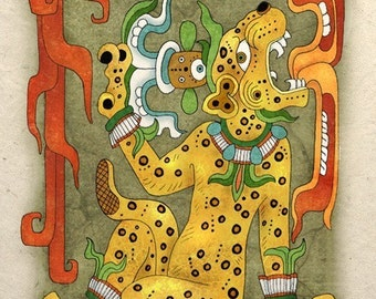 Mayan Art Print Jaguar God