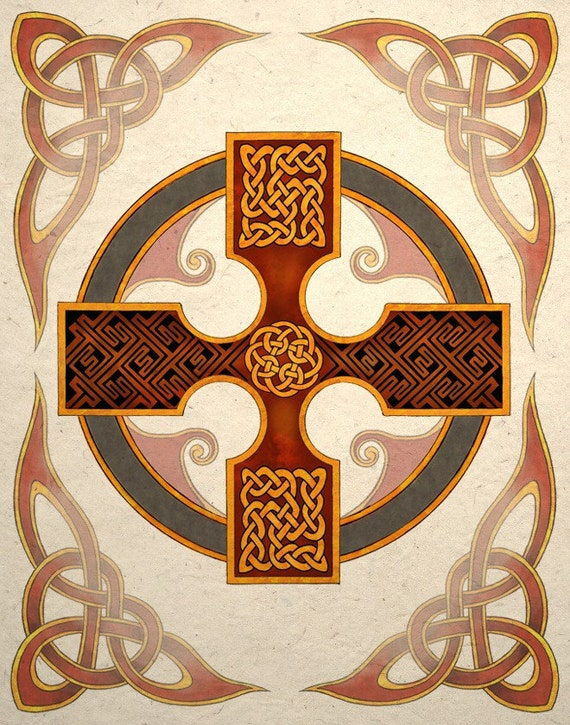 Celtic Art Print Cross With Knot Design Wall Decor