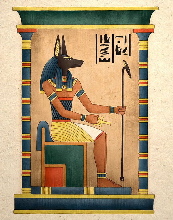 Egyptian Art Print Ancient God Anubis