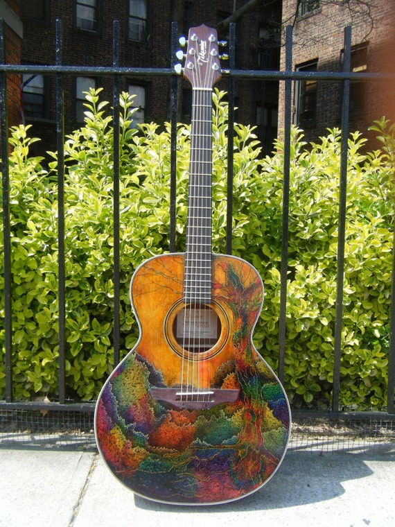 unique painted acoustic guitar