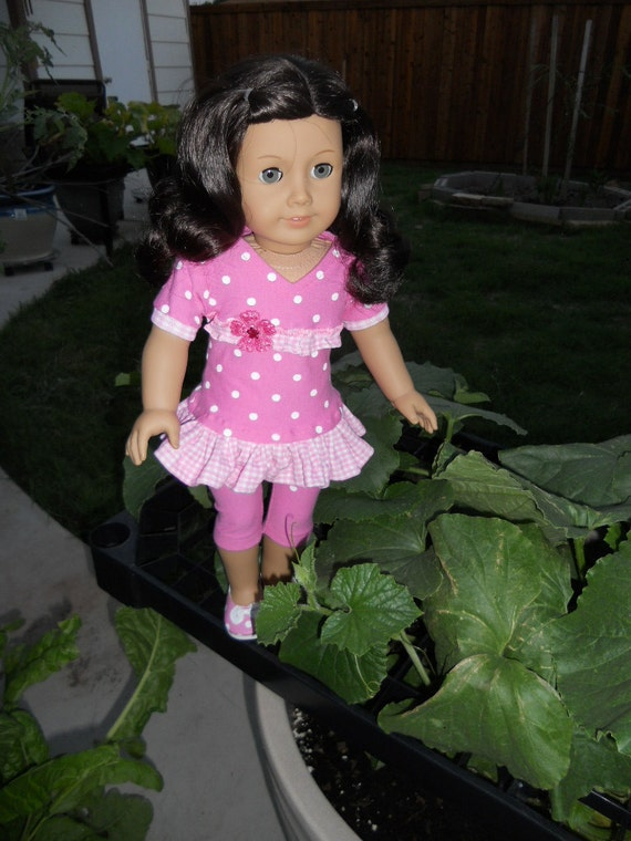 18 Inch American Girl Doll Clothes Pink with White Polka Dots Dress with Leggings and flats Ready to Ship