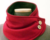 Neck Warmer Scarf in Red Wool