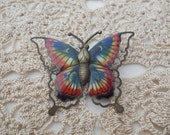 Vintage Butterfly Brooch Pin in Rainbow Colors