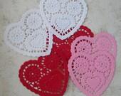 One dozen petite heart shape paper doilies- 3 colors