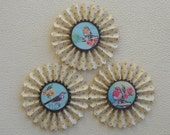 upcycled vintage wallpaper rosettes- Sweet Birds  - set of 3