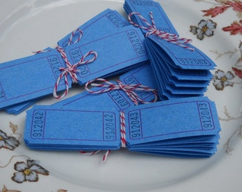 Blue Carnival Tickets-40 blank for your crafts