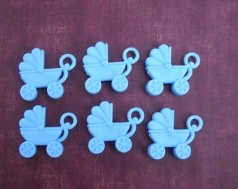 6 blue plastic strollers for your crafts- cake topper