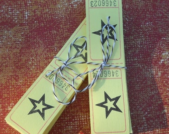 Yellow  Carnival Tickets - 40 star tickets for your crafts