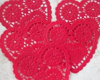 One dozen red petite heart shape paper doilies