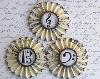 vintage music paper rosettes- Music symbols- set of 3