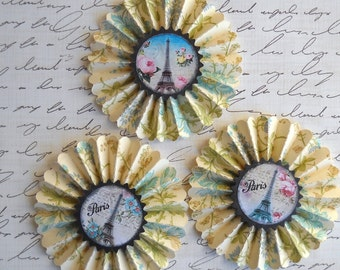 upcycled vintage wallpaper rosettes-  Paris in the spring  - set of 3