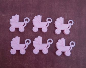 6 pink plastic strollers- cake topper- for your crafts