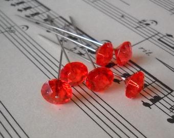 Fancy Diamond Shape Rhinestone Pins - Red Ice