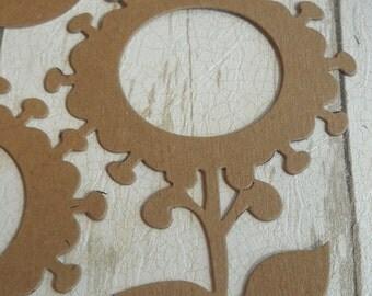6 Sunflowers- chipboard die cuts