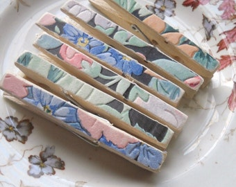 Fancy clothes pins - made with vintage wallpaper