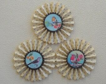 upcycled vintage wallpaper rosettes- Sweet Birds  - set of 3