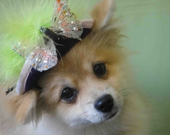 Hat for dog or cat with butterfly and swarovski crystals