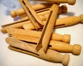 Charming Vintage Rustic Wooden Round Clothespins - Set of 10