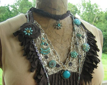 Boho fringy eco friendly upcycled eclectic jewelry embellished shabby chicish one of a kind tattered assemblage rosette statement necklace