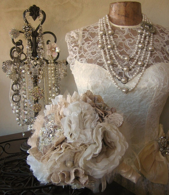 Fabric Flower Bouquet  - RESERVED Listing  for Morgan - Deposit - Bridal Bouquet Adorned with Rhinestone & Crystal Embellishments