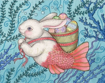 EASTER MERBUNNY limited edition art print